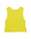 flat lay of yellow fringe tank