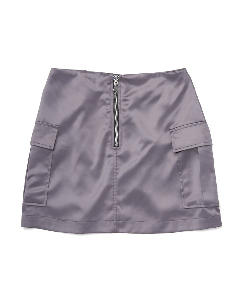 blue-gray satin skirt with pockets and exposed chrome zipper