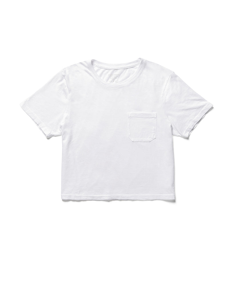 Flat shot of white crew neck tshirt with a patch pocket and cropped styling.