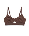 This bralette features a small cutout and comes in brown.