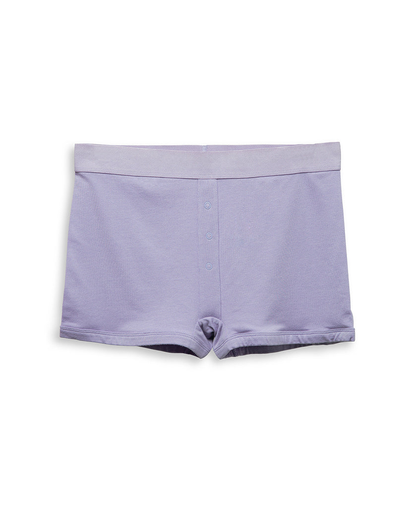 Boxer briefs with decorative snaps now comes in lilac.