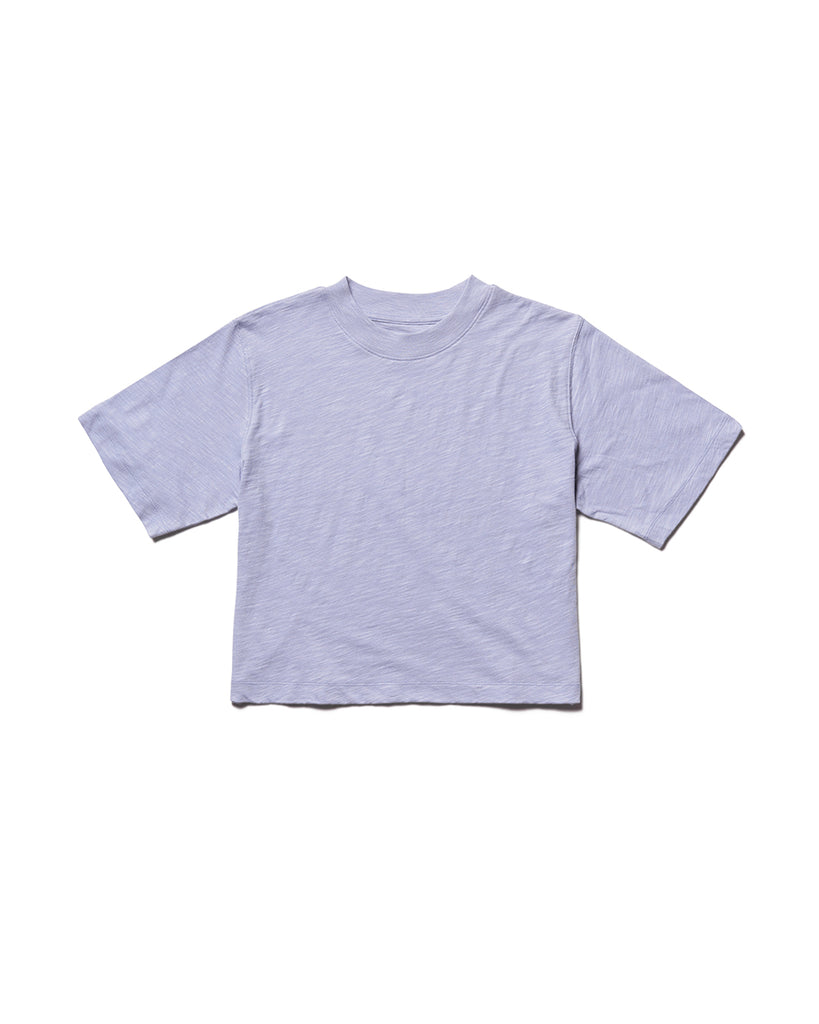 Flat shot of a cropped cotton crew neck tshirt in lilac.