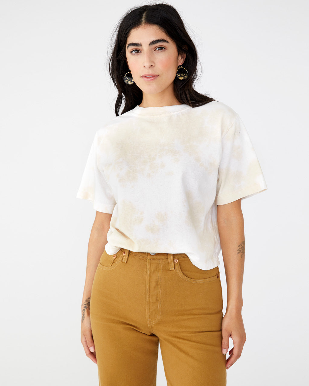 Light washed tie dye short sleeve crop tee from Richer Poorer shown on model