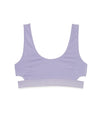 Lilac cotton bralette with wide elastic band and side cut outs.