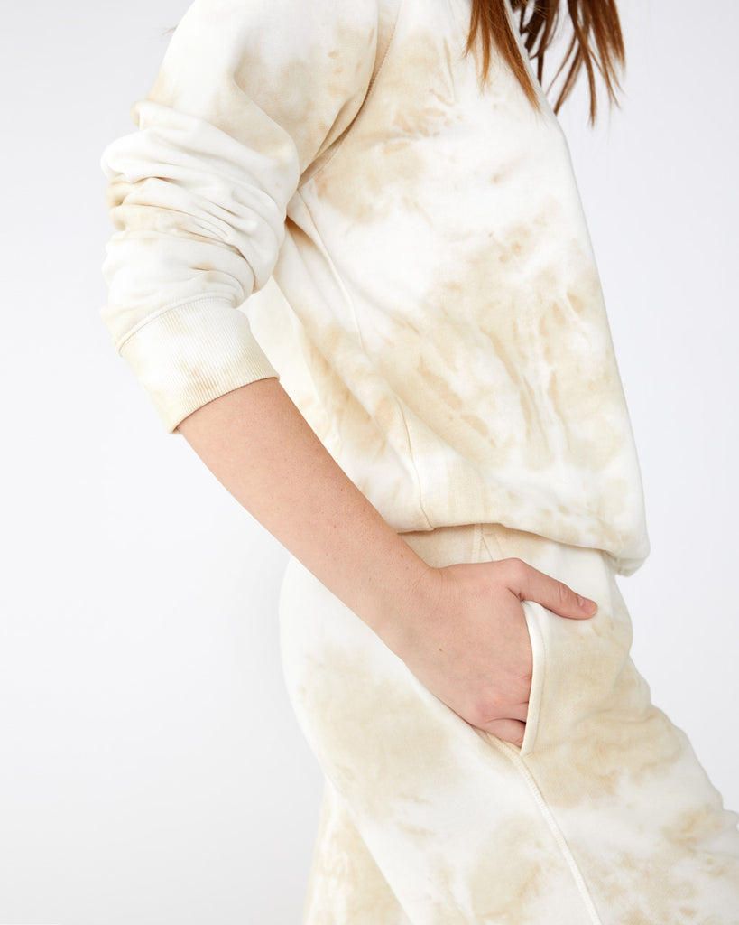 Light wash tie dye sweatpants with pockets
