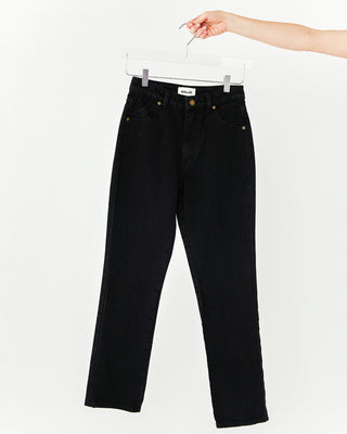 Black jeans with a straight leg fit