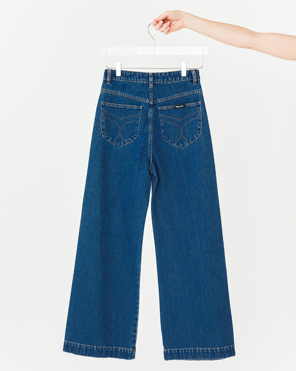 Indigo blue jeans with front patch pockets, high waist, wide leg and signature rolla's stitching