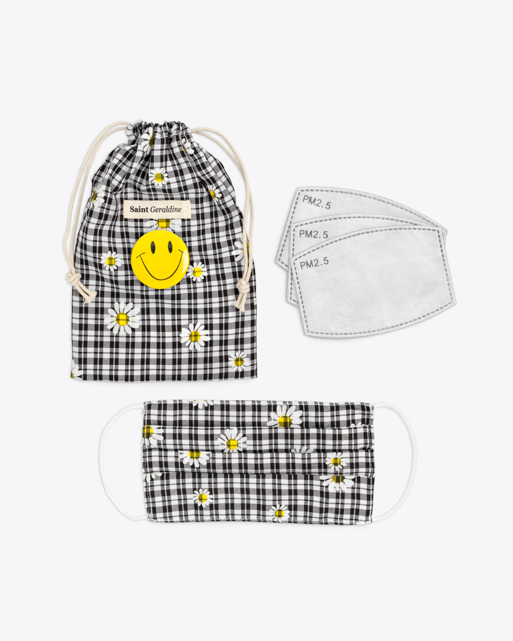 daisy check face mask with pouch and 3 filters