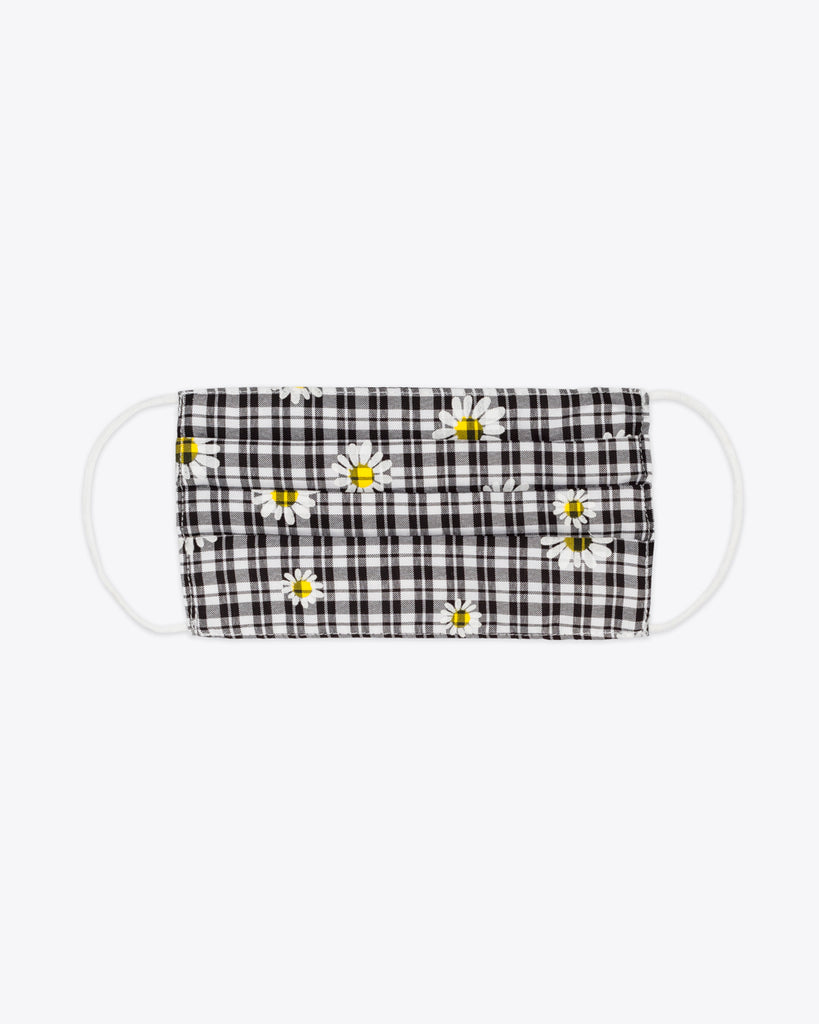 black and white check pattern with daisy design face mask