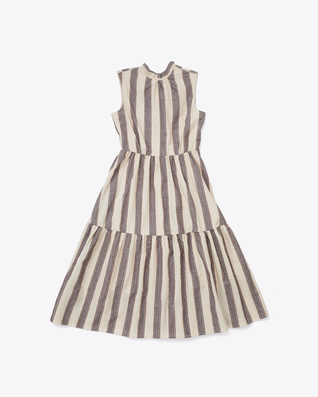 front view vertical striped tiered dress