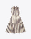 back view of vertical stripe tiered dress with a ribbon tie at the neck
