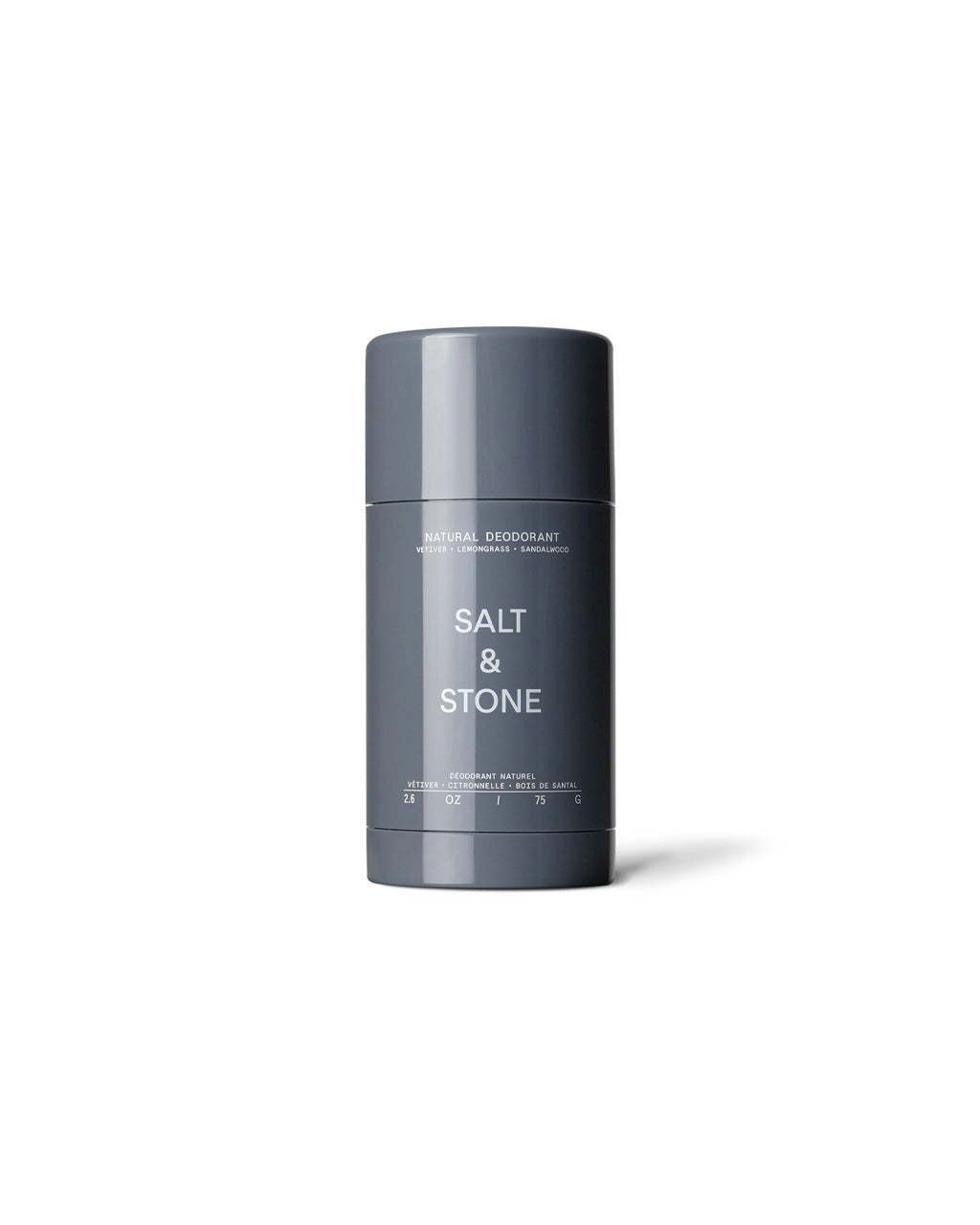 natural deodorant in a grey canister.