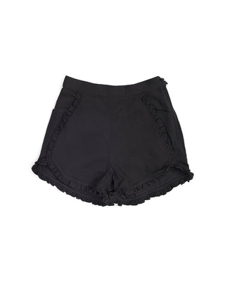black shorts with a ruffle trim