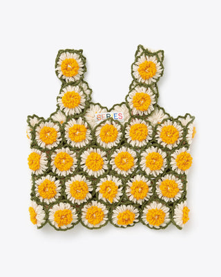 cropped tank top comprised of crochet yellow and white daisy flowers with olive green borders sewn together.