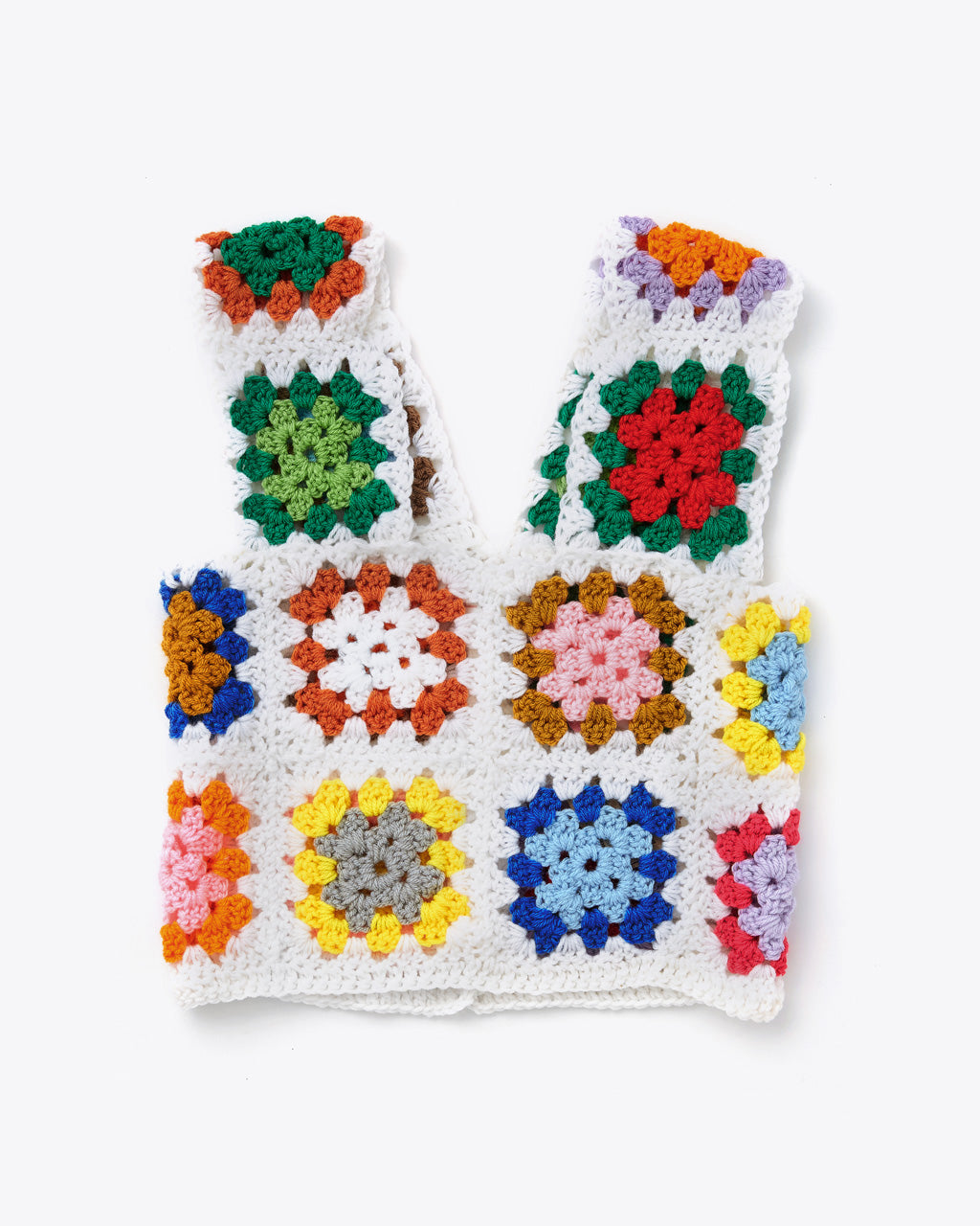 cropped tank top comprised of multicolored crochet squares sewn together.