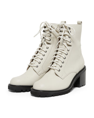 off white leather combat boots