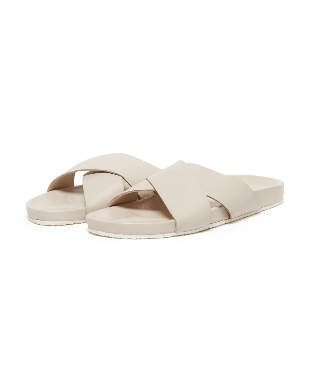 Off white leather sandals with double strap feature