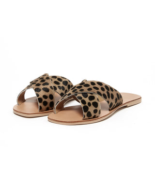 sandals with criss cross straps in cheetah print