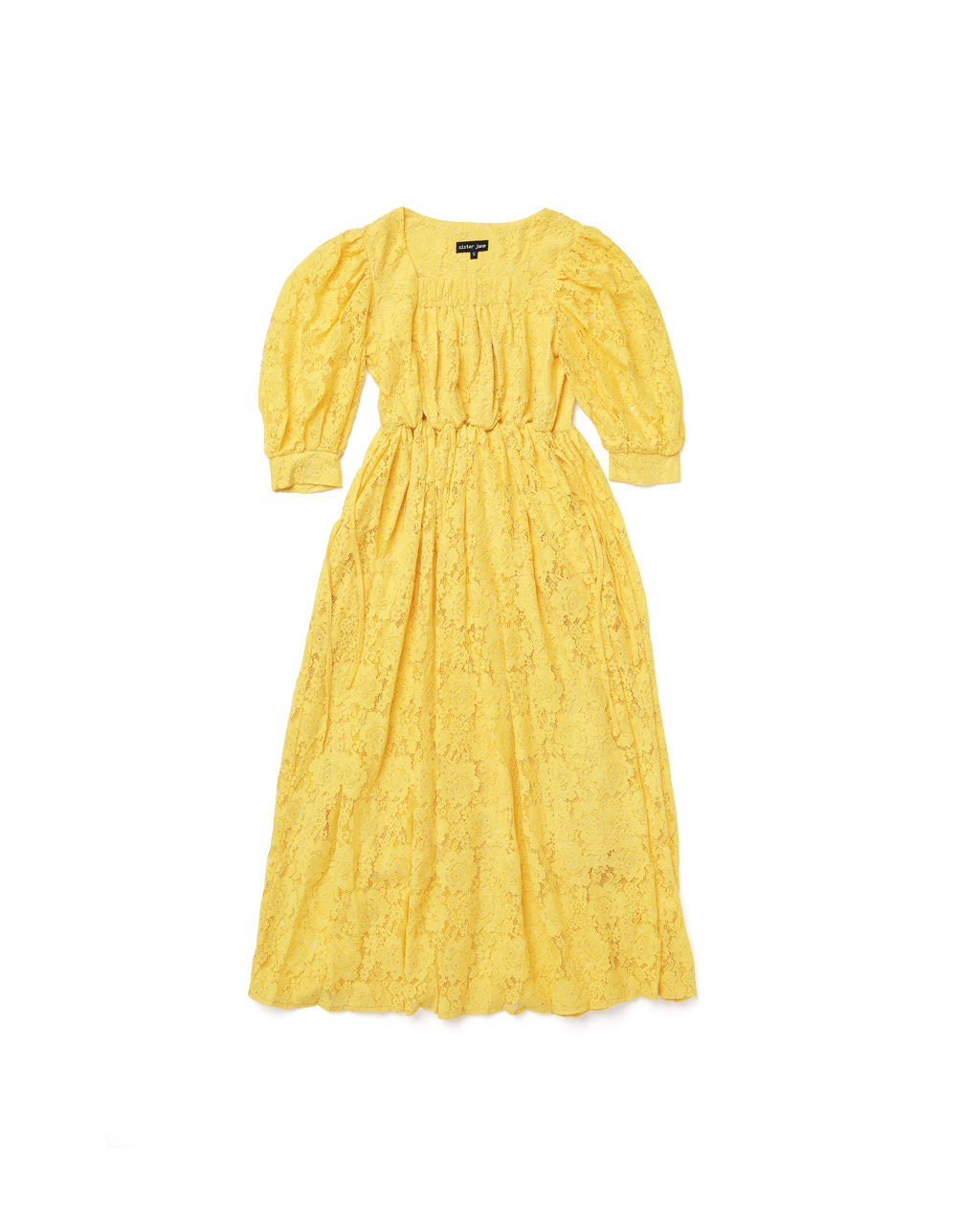 Midi length yellow lace dress with cropped puff sleeves.