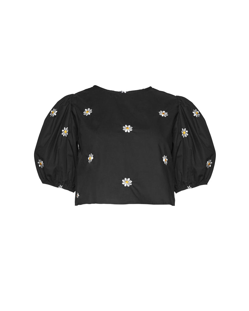 black crop top blouse with puff sleeves with daisies embroidered