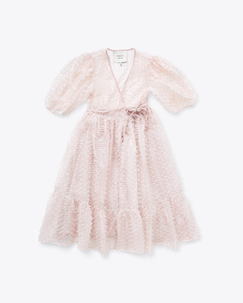 pastel pink v-neck dress with a feather like texture design