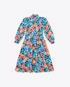 long sleeve midi dress with a bright floral pattern