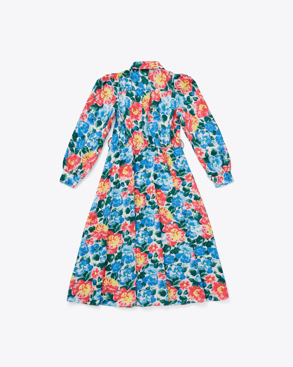 back view of bright floral long sleeve midi dress