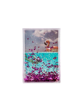 glitter picture frame rectangle - flamingo