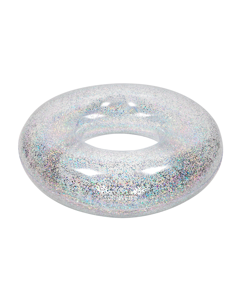 Silver glitter holographic inflatable pool ring