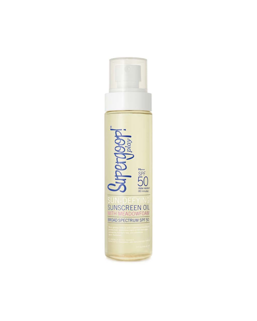 This sunscreen oil from Supergoop comes in a clear bottle with white spray cap.