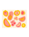 These stickers by The Good Twin feature 10 fruits in a bright pink and yellow design.