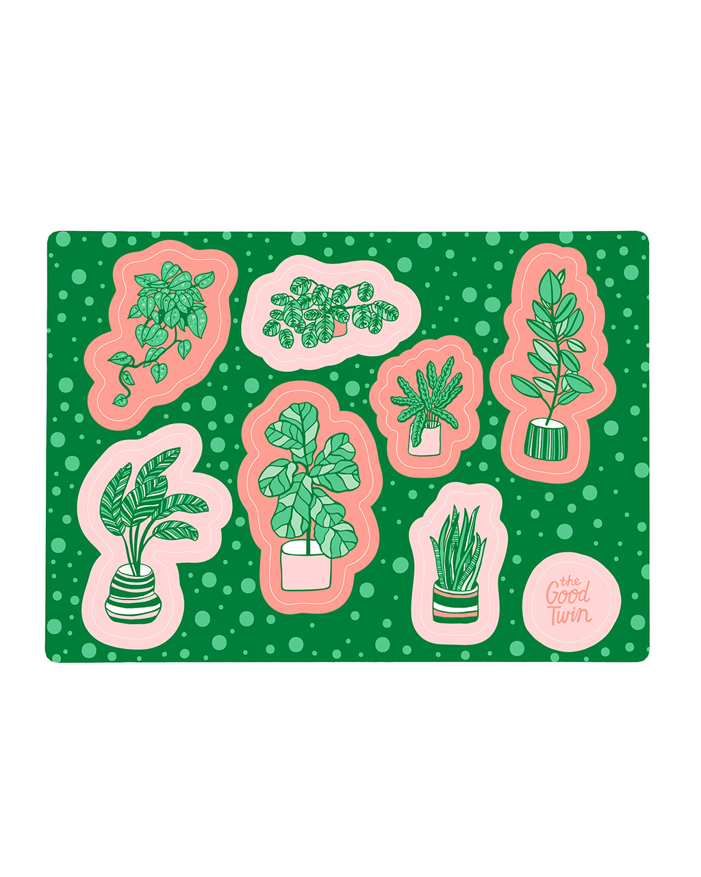 These stickers by The Good Twin feature 8 plants in a bright pink and green design.