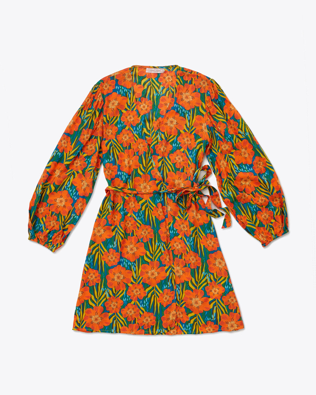 low v-neck mini dress with a bright orange floral pattern