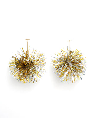 big tinsel earrings - silver & gold