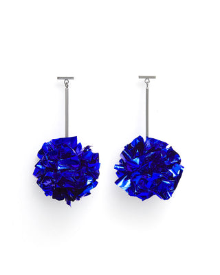 metallic foil earrings - blue