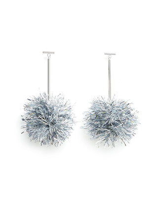 tinsel earrings - silver