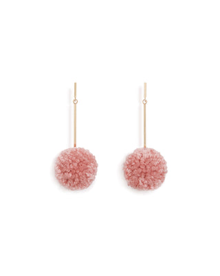 pom pom earrings - dusty pink