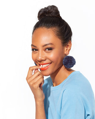 pom pom earrings - dusty navy