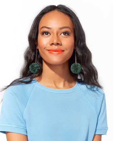 pom pom earrings - forrest green