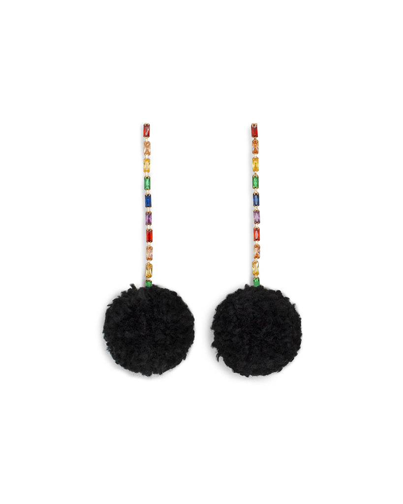 pom pom jewel earrings
