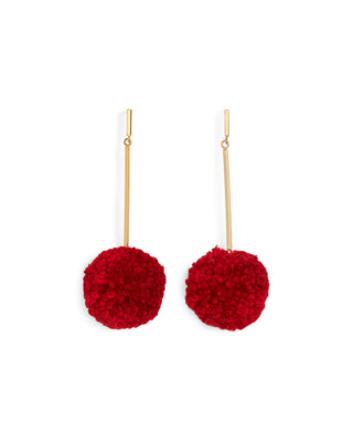 pom pom earrings - red
