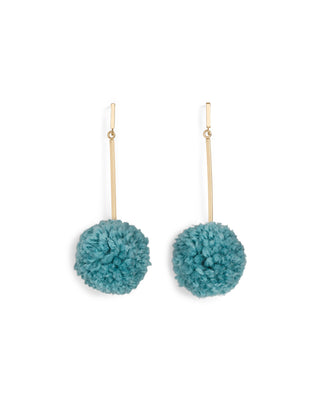 pom pom earrings - sea