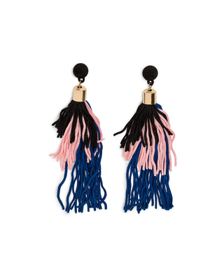 velvet pom tassel earrings - black, pink, navy