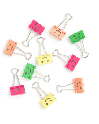 binder clips - happy face