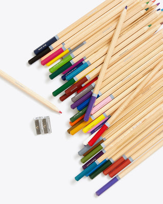 assorted wooden coloring pencils with 1 pencil sharpener
