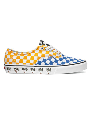 Vans Authentic sneaker in yellow, black and blue checkerboard pattern with palm tree pattern along sole
