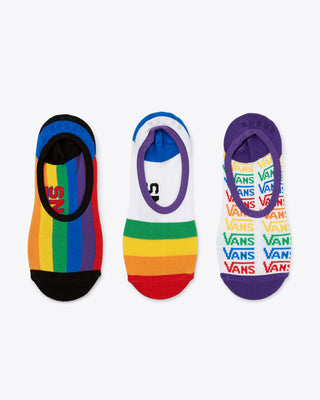 set of 3 no-show socks in various rainbow designs celebrating Pride Month