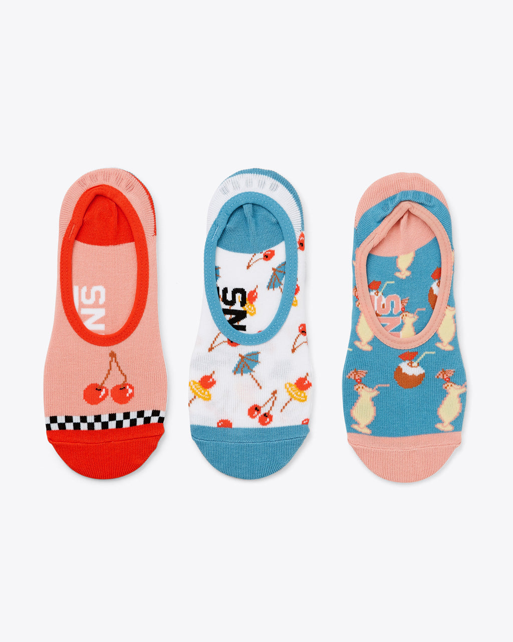 set of 3 vans no show socks in variety of tropical drink prints