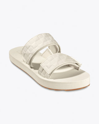 vans sandal slides with two embossed leather straps in marshmallow white