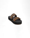 double strap slide sandals with chipmunk brown leopard print with black platform sole